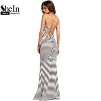 Wholesale Shirred Dress Straps - Wholesale- SheIn Sexy Long Summer Dresses For Women Casual Ladies Spaghetti Strap White Striped Crisscross Shirred Back Sheath Maxi Dress