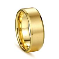 moda checa al por mayor-Joyas de moda para hombres y mujeres 8 mm acero titanio Anillo liso de alta calidad anillo de acero inoxidable 316 3 colores al por mayor Czech Zircon Rings