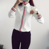 Wholesale Striped Formal Blouse Women - Work Wear 2016 Women Shirt Chiffon Blusas Femininas Tops Elegant Ladies Formal Office White Blouse
