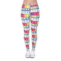 Wholesale Women Pattern Winter Trousers - Women Leggings Winter Rainbow Digital 3D Graphic Full Print Lady Skinny Stretchy Comfortable Yoga Pants Colorful Pattern Trousers (J37551)