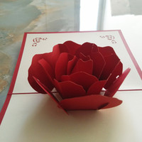 Wholesale Three Dimensional Greeting Cards - (10 piece lot)3D Hollow Rose Flower Greeting Cards Mothers Day Gifts DIY Three-dimensional Paper Sculpture Wedding Decoration