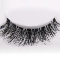 Wholesale Extension Eyelashes - New 50 Pairs Lot Black Natural Cross Fake False Eyelash Soft Long Makeup Eye Lash Extension free shipping