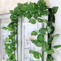 Wholesale Wholesale Decorative Leaves - Artificial Fake decorative Vine Silk Plants Leaves Foliage Flower Garland Home or wedding Garden Wall DIY Decoration IVY Garland Supplies