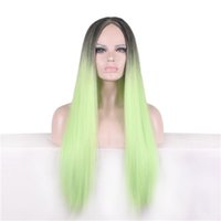 Cosplay Wigs Hair Synthetic Wig Long Straight Side Bang Green Mix Ombre Color Fashion 22-дюймовый синтетический парик