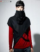 Wholesale Turtleneck Cape - Wholesale- New Men's Turtleneck T-shirt Novelty Fashion Irregular Capes Straps Design All-match T-shirts Unisex Plus Size S-3XL