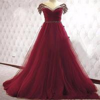 aus weiße brautkleider farbe großhandel-Atemberaubende Chic Burgund A-Linie bunte Brautkleider aus der Schulter Perlen geraffte Non White Dark Red Brautkleider mit Farbe