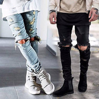 denim mince achat en gros de-Wholesale-Mens Ripped Skinny Straight Slim Elastique Denim Fit Biker Jeans Pantalons Longs Pantalons Straight Straight Slim Fit Jeans