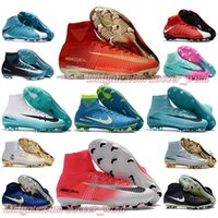 Wholesale Ankle Boots 12 - BaBy High Ankle Football Boots CR7 Mercurial Superfly V SX Neymar FG Soccer Shoes Magista Obra II Soccer Cleats Hypervenom Phantom III
