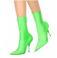 sapatas da faca venda por atacado-2017 super hot tornozelo faca botas mulheres extrema dedo apontado saltos altos moda pista Sexy Stiletto Elastic Booties Sapatos De Salto Alto Mulher