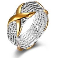 anel prata x venda por atacado-Anéis de declaração para As Mulheres Jóias Vintage Anéis De Prata Moda Estilo Europeu X de Ouro Anéis para Lady Partido Decoração Presente de Natal DHL Livre