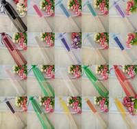 Wholesale Organza Gift Bags Green Dark - Wedding Favors Gifts Candy Color Silk Bamboo Craft Fan Cloth Wedding Hand Folding Fans+Yarn Bag Organza Bag+DHL Free Shipping