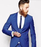 Wholesale Prom Tux - Custom Made men suits Royal Blue men Classic Groom Tuxedos Blazer Men Prom Tux Bridegroom (Jacket+ Pant+Vest)