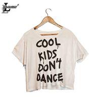 "Wholesale Crop Shirts Dance - Wholesale- Lei-SAGLY ""Cool Kids Don't Dance"" Print Crop Tops Harajuku Short Sleeve O-Neck White T-Shirt Kawaii Fitness Women T shirt F989"
