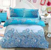 Wholesale Turquoise Print Sheets - Turquoise Paisley Bedding set Green Blue duvet cover bed in a bag sheet linen doona quilt covers Queen size full double 4PCS