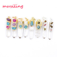 Wholesale Pendulum Wholesale - Pendant Necklace Chain Crystal Pillar Pendants Gem Stone Pendulum Jewelry Crystal Quartz Charms Accessories Fashion Jewelry For Women