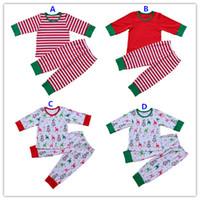 Wholesale Girls Striped Pyjamas - Fall Winter Baby Boys Girls Pajamas Children Family Matching Pajamas Kid Christmas Outfit Red Green Pyjamas Sleepwear Striped 2 Piece Sets