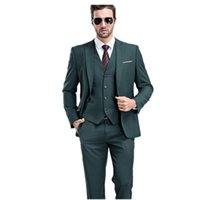 Wholesale New Design New Arrival Custom made Tailcoat Men Suit Set Slim Wedding Suits Mens green Groom Tuxedos Jacket Pants Vest XF081