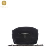 Atacado- PUNK GOAT COW HEAD CROSS-BODY CHAIN ​​BAG - Mulheres Black Faux Leather Mini Mini Gothic Metal Fashion Shoulder Clutch Handbag