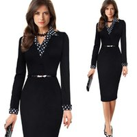 Wholesale Elegant Slim Office Dress - Women's Autumn Winter Dress Elegant V-neck Black Polka Dot Long Sleeve Slim Wear to Work Office Special Occasion Pencil Dress