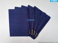 ingrosso twill twill-7x10 pollici 10 once di puro cotone blu indaco twill denim con cerniera borsa pianura in bianco zip con custodia di alta qualità in metallo dorato con cerniera fodera blu