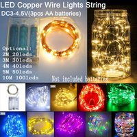 Wholesale Wedding Outdoor Battery Lamp - DC4.5V Battery Power LED Copper Silver Wire Light String 5M 50leds 10M 100leds Xmas Home Party Decoration Halloween Wedding Outdoor Lamp
