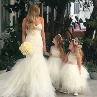 Wholesale Gold Crystal Sash - Lovely Ball Gown Ankle Length Flower Girls Dresses With Gold Ribbon Sash Crystal Puffy Tulle Lace Applique Girls Pageant Party Gowns