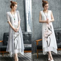Wholesale natural linen paint - Two pieces dress female 2017 spring dresses summer lady new folk style in the long section of ink painting show thin linen dress