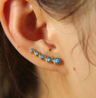 Wholesale fire opal earrings gold - 2017 new arrival silver Gold Color Earrings 925 sterling silver jewelry with deep blue fire opal Stud Earring for women wedding gift earring