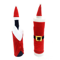 Wholesale Christmas Ornaments Wholesale Suppliers - Wholesale- 2piece Wine Bottle Sets & Christmas Cap On Bottle Santa Gift Red New Year Decoration for New Year Home Christmas Party Supplier
