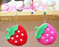 Wholesale Strawberry Coin - Wholesale- Kawaii Fruit Strawberry 10CM Plush Coin Purse & Wallet Pouch Case BAG ; Keychain Pendant Storage BAG Pouch Handbag Case