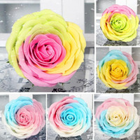 Wholesale Soap Gifts Scented - New Rainbow 7 colorful Rose Soaps Flower Packed Wedding Supplies Gifts Event Party Goods Favor Toilet soap Scented bathroom accessories