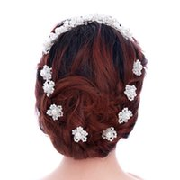 horquillas de flores hechas a mano al por mayor-Flor coreana hecha a mano nupcial horquillas joyería para las mujeres y las niñas perlas de cristal rhinestones boda hiar accesorios