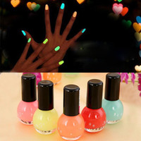 Wholesale Neon Candy Party - 8ml 12 Colors Women Makeup Fluorescent Neon Luminous Gel Nail Polish Candy Color Nail Oil Varnish In Dark Wedding Party Gift ZA1667