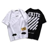 Wholesale Newest Fashion Summer Off White Graffiti sketch Zebra Stripe Printing Cotton T shirt Casual Short Sleeve Tees teenager hot tops