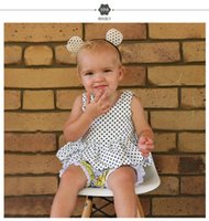 Wholesale Black Babydoll Dress Ruffle - Baby Toddler Dot Vest Dress For Girls Children Summer Cotton Tops Tees Sleeveless Pleated Dress Princess Infant Babydoll Sundress Dresses
