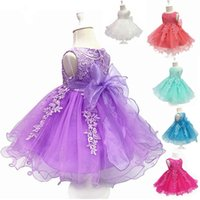 Wholesale Wedding Embroidered Ribbon - Flower Girls Dresses Children Sleeveless Lace Cotton Lining Party Dress with Hoop Inside Kids Wedding Birthday Ball Gown