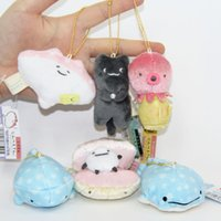 Chaud! 6pcs / Lot Cute SAN-X Blue Whale Toy Stuffed Peluche Jouets Sea Animal Octopus Plush Toy keychain 7cm