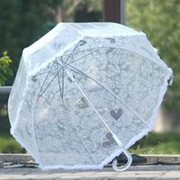 Arched Princess Oiseau Lace Transparent Type de champignon Floral Border Bride Parapluies Crystal Long Handle White Hot Sell 16 8sx R