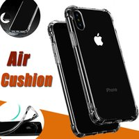 Wholesale Rubber Iphone 5s Covers Clear - Air Cushion Shockproof Clear Soft Silicone TPU Anti Knock Transparent Crystal Rubber Full Protective Cover Case For iPhone X 8 7 Plus 6S 5S