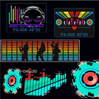 Wholesale car led sound activated equalizer - 90Cm Cm Car Music Rhythm Lamp Car Sticker Sound Rhythm Activated El Equalizer Panel Multi Designs Led Interior Lighting