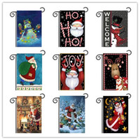 Wholesale Christmas Garden Flags Santa Festival Decor Holiday Party Decoration Banner Ornament Indoor Outdoor Pennon Courtyard Hanging Flag