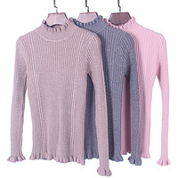 Wholesale Womens Ruffle Sweater - Wholesale- SW165 Long Sleeve Tight Fit High Neck Ruffles Hem Cable Knitted Autumn Winter Fall Womens Sweater Jumpers Pullover Tops Knitwear