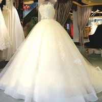 Wholesale Modern Bridal Shop - Real Image Tulle Ball Gown Wedding Dresses 2017 Appliqued Sheer Custom Made Bridal Gowns Shop Online China