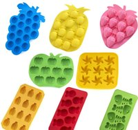Wholesale Fruit Molds - Fruit Shape Ice Mold Tray Ice-making Molds For Bar Party Kitchen Tool Pineapple Grape ice Cube Chocolate Mold Mould Tray 8 design KKA2134