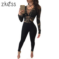 Wholesale Womens Sheer Pants - Wholesale- Zkess Bodycon Bandage Jumpsuits Long Pants Womens Sexy Black Mesh Robe Club One Piece Outfits Sheer Hole Hollow Overalls LC64115