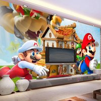 Wholesale Kids Rooms Themes - Super Mario Net Wall Backdrop Seamless Wallpaper Ceiling Ceiling Large Fresco Internet Bar LoL Theme Wallpaper