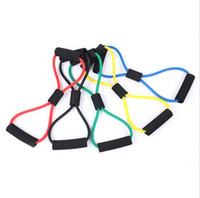 crossfit bande rouge achat en gros de-5 Couleurs Fitness Resistance Bandes D'exercice Tubes D'exercice Pratique Élastique D'entraînement Corde Yoga Corde De traction Pilates ABS Cordages D'entraînement