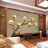 Wholesale Vintage Magnolia - Customize Mural Wallpaper Designs Chinese - style Retro Painting Golden Magnolia Wall Mural Living Room Wall Decor Wall Coverings