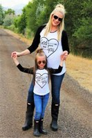 Wholesale Parents Children S Clothing - Mother And Daughter Clothes Family Wear Long Sleeve Heart Pattern T Shirt Kids Clothing Stitching Women Parent-child Outfits Summer