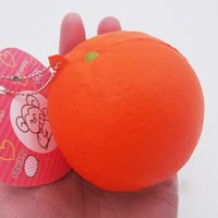 Wholesale Orange Lanyards Wholesale - 20PCS Cute Slow Rising Squishy Orange Stress Squeeze Cell Phone Straps Charms Pendant Bread Simulation Stretchy Toy Gift Charms